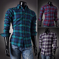 Cotton Men's Stylish Slim Fitted Long Sleeve Grid Shirt Casual ShirtsTops 4 Size