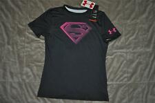 Under Armour Alter Ego SUPERMAN 1244392 009 Boys Fitted Baselayer Shirt BLK NWT