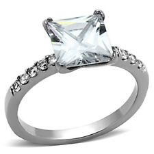 Classic 2.35ct Princess Cut Clear CZ Stainless Steel Engagement Ring SIZE 5-10
