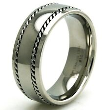 Men's Stainless Steel Dual Cable Biker Wedding Band Engravable Ring