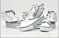 2014 Women's platform angel wings with large base White high help sports shoes