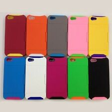 Hard Back Stand Case Dual Color Card Holder Cover for Apple iPhone 4/4S 5C