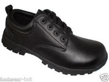 MENS PLAIN BLACK LEATHER OFFICE WORK LIGHT WEIGHT CASUAL LACE UP SHOES ALL SIZES