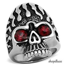 Men's Ruby Red CZ Stainless Steel 316 Tribal Skull Fashion Ring Size 8-13