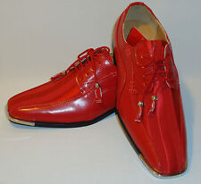 Expressions 4925 Mens Fancy Red Satin Silvertip Party Style Tuxedo Dress Shoes