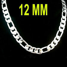 Fashion 925sterling silver 12mm 20-30 inch figaro chain men's necklace jewelry