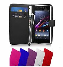 Flip Wallet Leather Case Cover For Sony Xperia E (C1505) Free Screen Protector