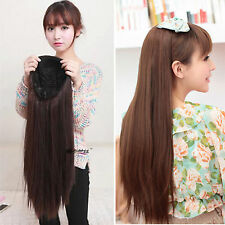 new fashion half wig women/girl full long straight hair wigs 3/4 wig clips in on
