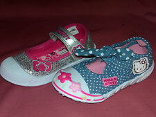 Girls Canvas Trainers Pumps HELLO KITTY Aster Silver Daffodil Blue Sizes 4-1