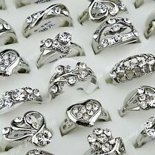 10pc-50pcs Top CZ Rhinestones Silver Women Wedding Rings Wholesale Jewelry Lots