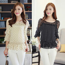 Korean Womens Lace Mesh Chiffon Dots Career Blouse T-shirt With Tank Tops S-XL