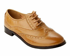 NEW WOMENS TAN OXFORD BROGUE FORMAL OFFICE WORK PUMPS SHOES LADIES UK SIZE 3-8