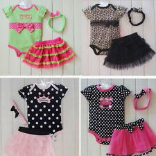 1Set Newborn Infant Baby Girl Polka Dot Headband+Romper+TUTU Outfit Clothes