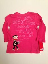 NWT Small Paul Frank Girl Pink Phone Julius Long Sleeve Top T-Shirt 5 5T 6 6X