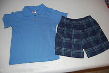 Toddler Boys Shorts Set BRIGHT BLUE POLO Plaid Shorts 2T 3T 4T Fisher Price