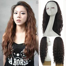 women's fashion half wig full long curly wave brown hair wigs 3/4 wig clips in