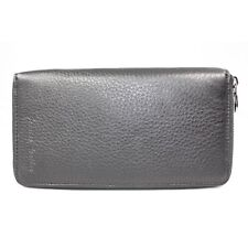 Genuine Leather Women Checkbook Zip-Around Wallet