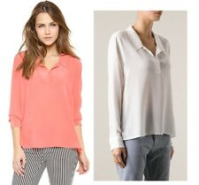 NEW Equipment long sleeve Arden silk v neck Blouse white coral XS/S/M/L $218