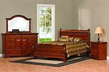 Amish Sleigh Raised Panel Bedroom Set Solid Wood Furniture King Queen Full