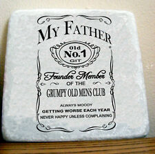 """Marble Tile Gift Drinks Coaster Wall Art """"JD OLD GIT"""" SIGN Father Birthday Dad"""