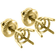 4 Prong Screw Back Basket Stud Earrings Castings 14K Solid Yellow Gold