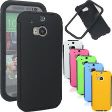 Wrap Up Hybrid Hard GEL Case Cover Built In Screen For HTC All New ONE 2 M8 2014