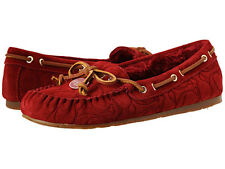 Coach Antonia Suede Shearling Flats Moccasin Rouge Red Shoes $158