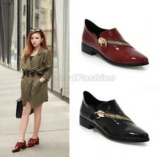 Womens Patent Shiny Punk Zipper Low Heel Loafers Shoes Plus Size Red/Black A-222