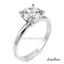 2.05 Ct Round Cut CZ 925 Sterling Silver Engagement Wedding Ring Women's Sz 4-11