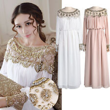 Goddess Beads Embellished Pleated Chiffon Long Sleeve Maxi Dress