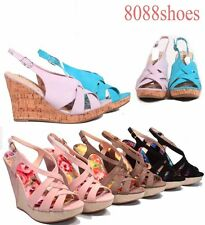 Women's Sexy Strappy Open Toe Slingback Platform Wedge Sandal Shoes All Siz 6-10