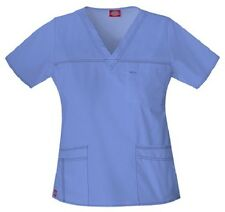 Dickies Scrubs 817455 V Neck Scrub Top Dickies Youtility Jr Fit Ceil Blue