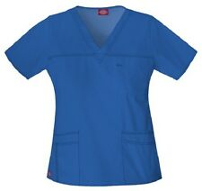 Dickies Scrubs 817455 V Neck Scrub Top Dickies Youtility Jr Fit Royal Blue