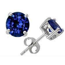 0.50 - 4.00 CT 14K SOLID WHITE GOLD BLUE SAPPHIRE ROUND SHAPE STUD EARRINGS PUSH