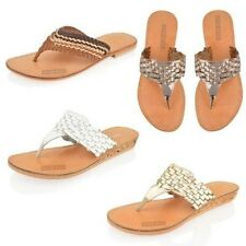 Flip Flops Womens Leather Summer Toe Post Flat Beach Sandals Shoes Size