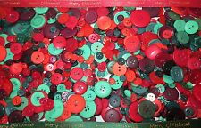 CHRISTMAS BUTTONS ASSORTED REDS AND GREENS - FREE POSTAGE