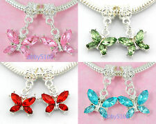 20pcs Mixd Silver Tone Butterfly Charms Dangle Inlay Crystal Fit Bracelet H17