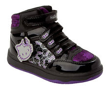 GIRLS OFFICIAL HELLO KITTY BLACK HI TOP TRAINERS SHOES BOOTS KIDS UK SIZE 8-2