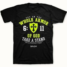 Mens Black Religious Whole Armor Of God Christian T-Shirt Small to 4XL