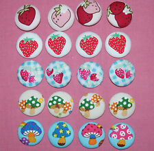 STRAWBERRY/MUSHROOMS FABRIC COVERED BUTTONS available in 30mm size