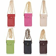 PU Leather Two Pocket Mobile Phone Shoulder Bag Cover Pouch Case+Neck Strap