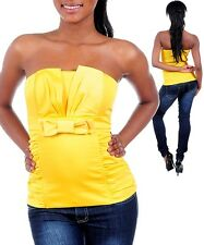 Women's Blouse top Strapless bow babydoll fitted Sexy Yellow Club Formal S M L X
