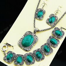 Hot Sale 2014 New Vintage Jewelry Set Turquoise Silver Necklace Earring Bracelet