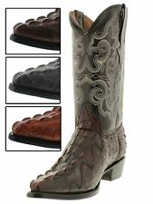 Men's leather ostrich crocodile alligator tail western cowboy boots j toe TW MV