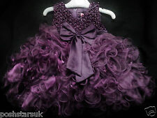 Purple Christening Flower Girl Bridesmaid Pageant Wedding Party 0-12 Xmas Easter