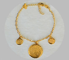 Persian Coin Anklet Size 6 - 11 inches (15.24cm - 27.94cm) 24k Gold Plated - GCJ