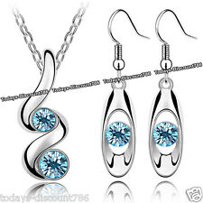 BLUE CRYSTAL SWIRL NECKLACE EARRINGS LOVE XMAS GIFT FOR HER LADY WIFE GIRL WOMEN