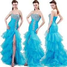 2014 Beading Prom Party Grown Blue High-Low Pageant Graduation Evening Dresses