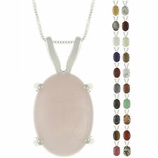 925 Sterling Silver Natural 18x13mm Oval Cabochon Gemstones Pendant Necklace