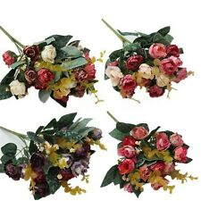 1 Bouquet 21Head Artificial Peony Silk Flower Leaf Home Party Wedding Decoration
